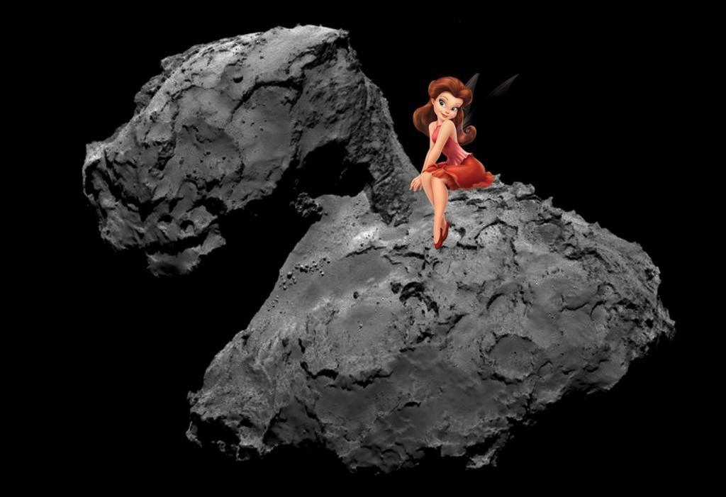 Rosetta erkundet nicht Uranaus. was vom Namen her passender gewesen wäre, sondern einen Kometen mit dem schmissigen Namen 67P/Tschurjumow-Gerasimenko. So stellt sich unser BIDL-Zeichner die Landung vor