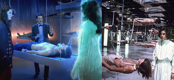 Auch wenn sich der Geist von Michaela Crichton (mitte) grün ärgert: Wie will man komatöse Patienten in einer futuristischen Umgebung auch sonst lagern?