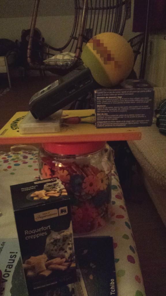 Passt und spielt. Leider reichte die Vorbereitungszeit nicht, um aus den Steckblumen (unten) einen elaborierten Mikroständer zu basteln.